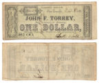 John F. Torrey $1.00 (one dollar) private scrip