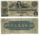 The Commercial and Agricultural Bank of Texas $10.00 (ten dollars) private scrip