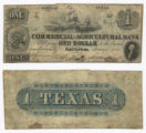 The Commercial and Agricultural Bank of Texas $1.00 (one dollar) private scrip