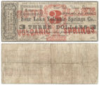 Sour Lake Volcanic Springs Co. $3.00 (three dollars) municipal scrip