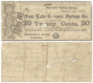 Sour Lake Volcanic Springs Co. 20 cents (twenty cents) municipal Scrip