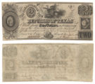 Republic of Texas $2.00 (two dollars) change note