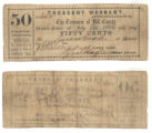 Hill County 50 cents (fifty cents) treasury warrant
