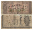 Alexander & Co. $5.00 (five dollars) private scrip
