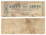 T. M. Bagby, Houston and W. S. Thomas & Co. 50 cents (fifty cents) private scrip