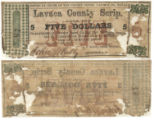 Lavaca County $5.00 (five dollars) county scrip
