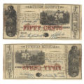 Austin County 50 cents (fifty cents) county scrip