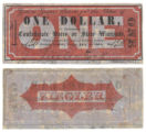 Ziegler's Saloon $1.00 (one dollar) private scrip