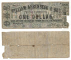 William Ahrenbeck and Bro. $1.00 (one dollar) private scrip