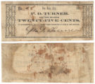 P. D. Turner 25 cents (twenty-five cents) private scrip