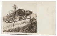 [Lumber truck, driver seated at wheel, Hico, Texas]