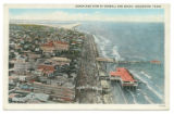 Aeroplane View of Seawall and Beach, Galveston, Texas