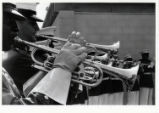 [Bugle players in the United States Marine Drum and Bugle Corps performing at the State Fair of...