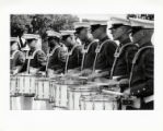 [Drum players in the United States Marine Drum and Bugle Corps performing at the State Fair of...