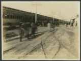 Special Train Discharging Passengers. ''Flyin' Frolic'' Nov. 12-13, 1918. Love Field, Tex.