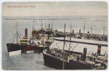 Busy Galveston Wharf Scene.