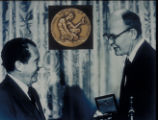 [President Richard M. Nixon presenting the 1969 National Medal of Science to Jack S. Kilby]