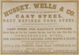 Hussey, Wells & Co. Manufacturers Of All Descriptions Of Cast Steel.