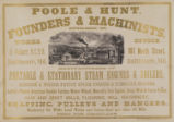 Poole & Hunt, Founders & Machinists, Established 1851.