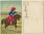 [Cowgirl in blue and pink on horse]