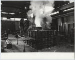 [Pouring Molten Bronze into the Form at the Basingstoke Foundry, Mustangs of Las Colinas]